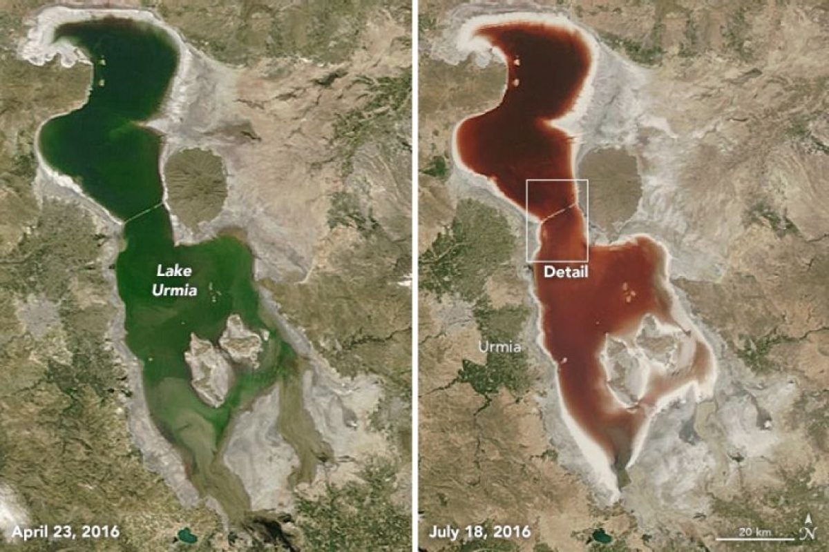 ¿Cómo desapareció el agua del lago Urmía? Foto:NASA. Imagen Por: