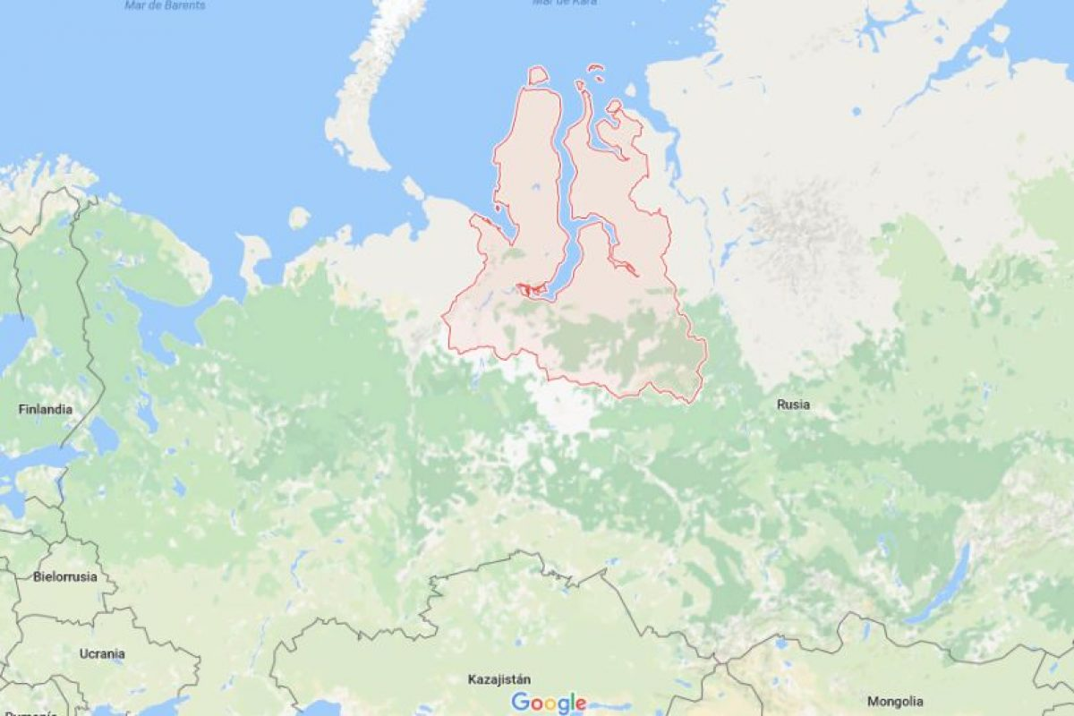 La región de Yamalo-Nenetsky, ubicada a 2 mil km. de Moscú. Foto:Google Maps. Imagen Por: