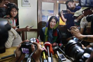 Irom Sharmila al terminar su huelga de hambre Foto:AP. Imagen Por: