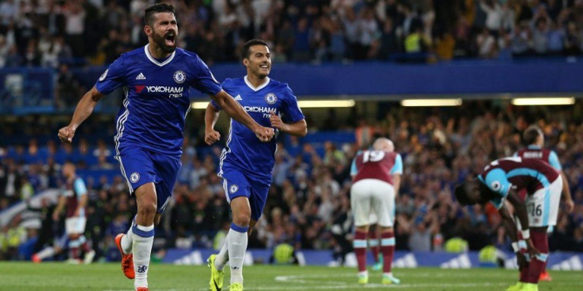 Con un agónico gol de Costa, Chelsea venció a West Ham en su estreno en la Premier