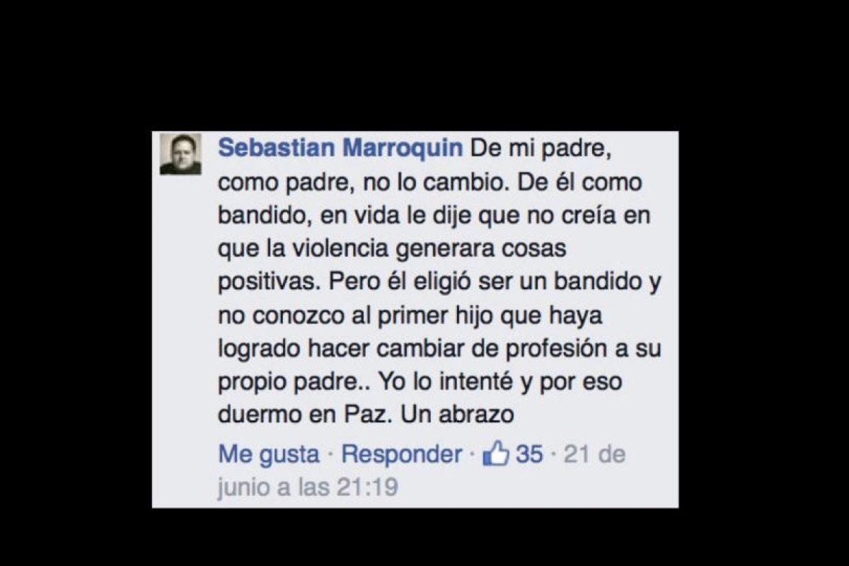 Marroquín afirma que quiso vengarse luego de que mataron a su padre, pero luego reflexionó. También cuenta que este le prohibió inclusive fumar. Foto:vía Facebook/Sebastián Marroquín. Imagen Por: