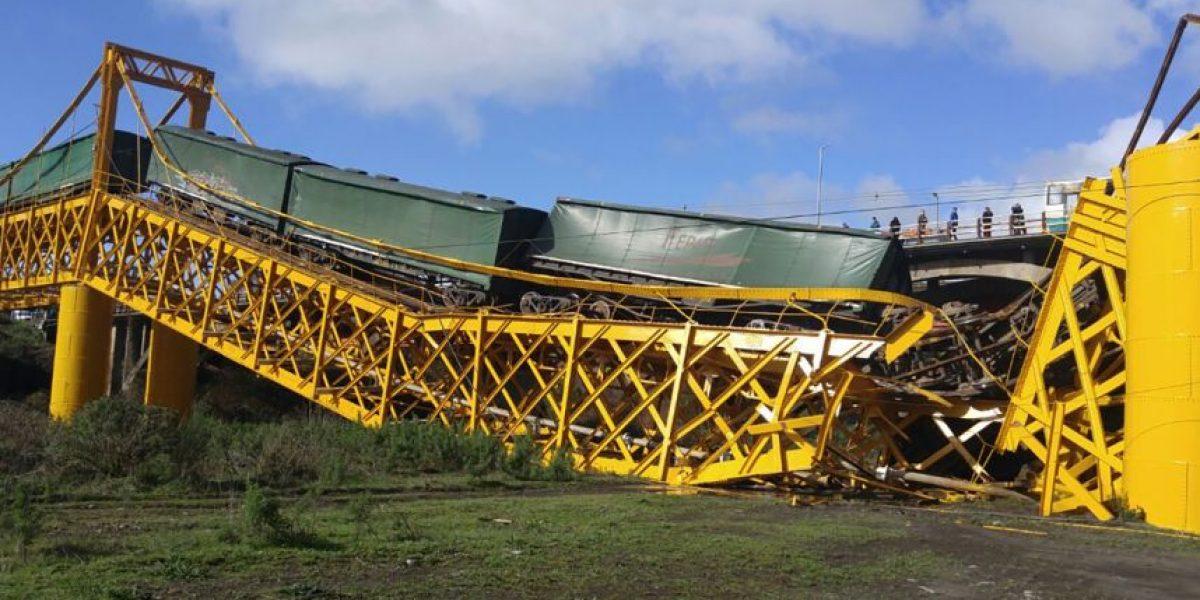 Tren de carga cae a río tras desplomarse puente ferroviario en Pitrufquén