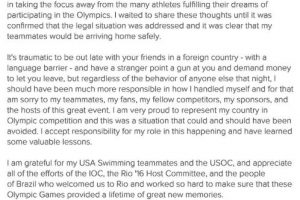 Las disculpas de Lochte luego de que se descubrió lo que hizo realmente en Río. Foto:Instagram. Imagen Por: