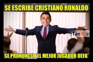 Finalmente, Cristiano Ronaldo fue nombrado el mejor jugador de la UEFA. Foto:Vía twitter.com. Imagen Por: