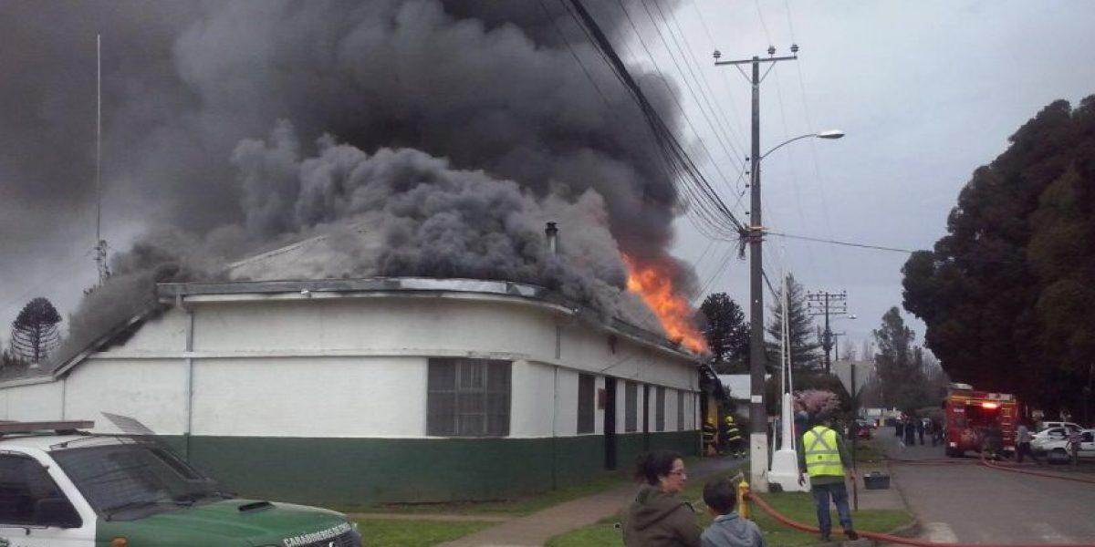 Retén de Carabineros se quema en La Araucanía