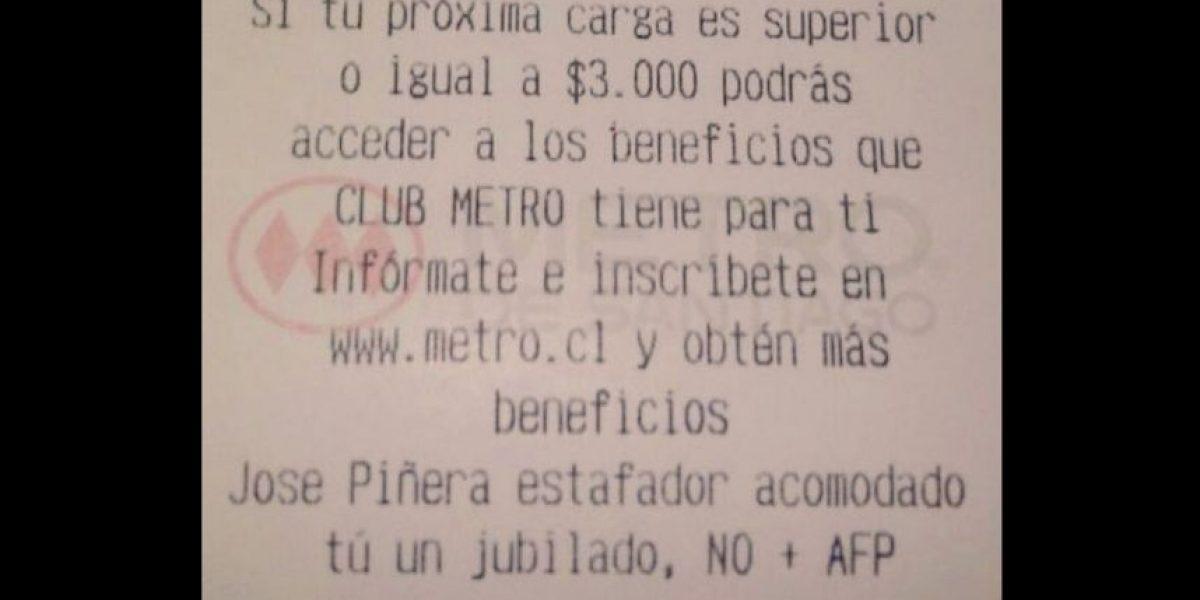 Metro comienza investigación tras mensaje que funaba a a José Piñera en boleta