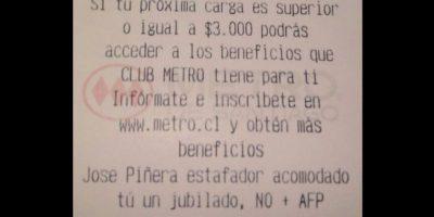 Hackean boleta del Metro y envían mensaje contra las AFP y José Piñera