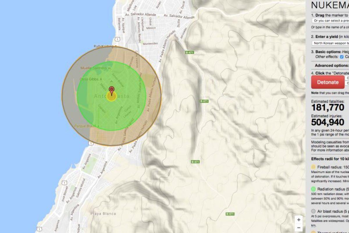 Así sería el daño si la bomba fuera lanzada sobre Antofagasta. Foto:Reproducción. Imagen Por: