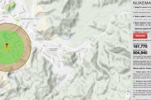 Así sería el daño si la bomba fuera lanzada sobre Concepción. Foto:Reproducción. Imagen Por: