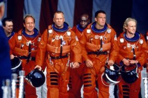 """Una escena de """"Armageddon"""", con Bruce Willis y Ben Affleck a la cabeza. Foto:Reproducción. Imagen Por:"""