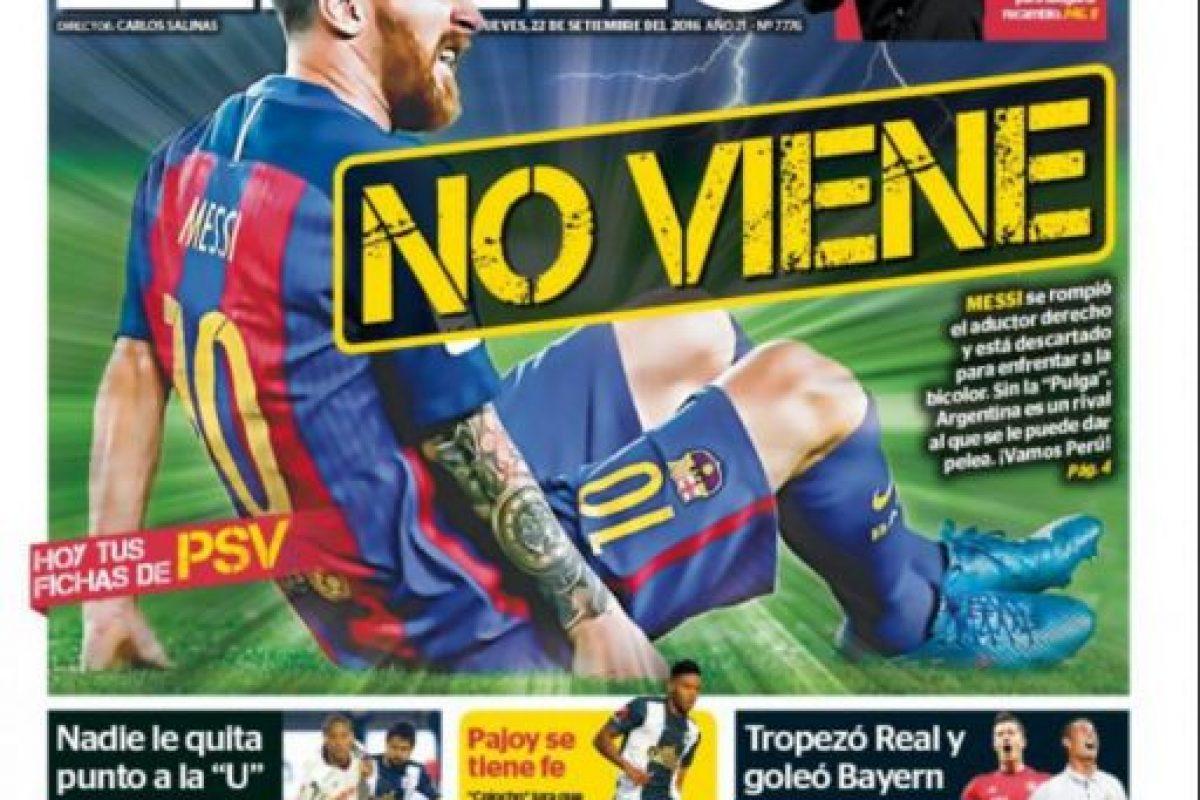 Messi no estará ante Perú por las Clasificatorias rumbo a Rusia 2018 Foto:Reproducción. Imagen Por: