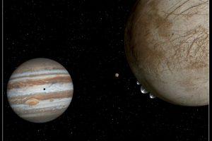En esta composición se aprecia cómo se verían los penachos haciendo erupción de Europa Foto:NASA. Imagen Por: