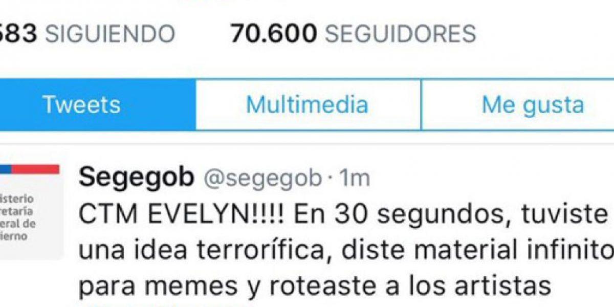 Twitter del Gobierno critica por error a Evelyn Matthei y ofrece disculpas