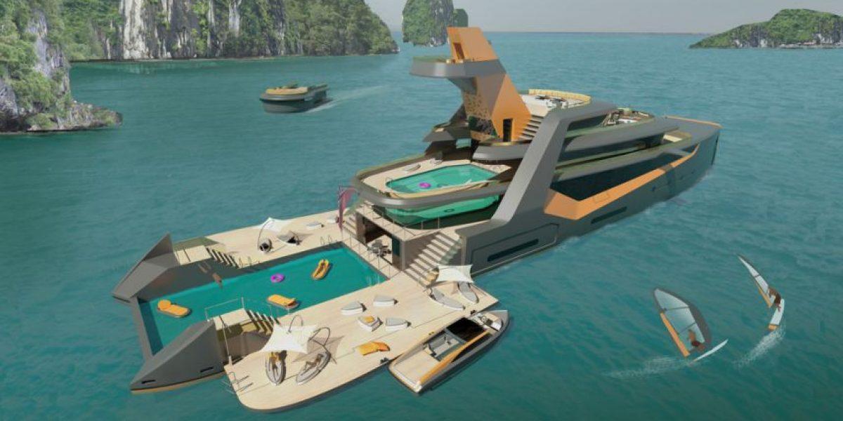 """El yate más moderno del mundo: con un dron para viajar y una """"playa"""" propia"""
