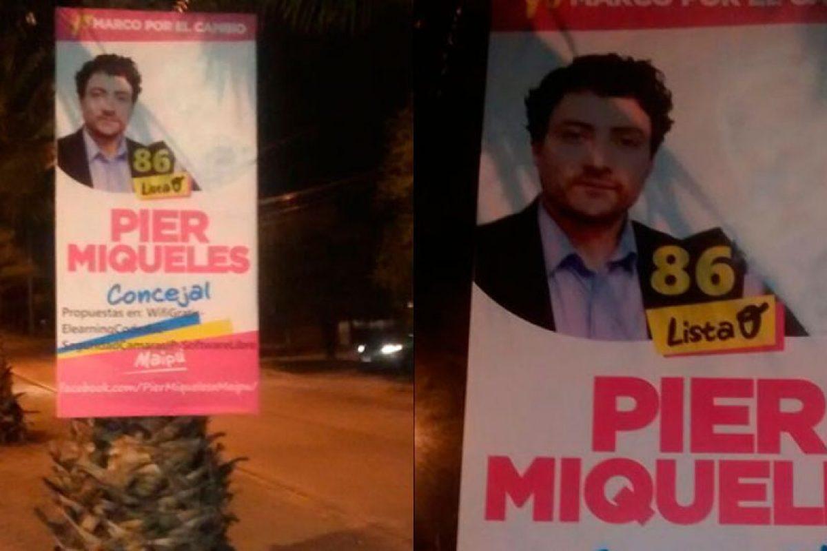 Pier Miquel borró con pintura blanca a ME-O, ya que ese sentiría defraudado del político. Foto:Gentileza. Imagen Por: