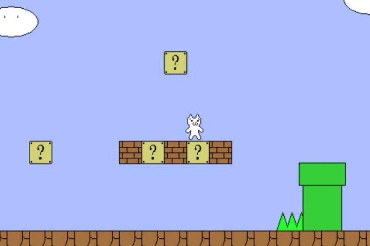 Cat Mario es un juego que ha sido clasificado como frustrante por varios youtubers nacionales y del mundo. ¡Todo lo que tocas te mata! Foto:MiniJuegos.com. Imagen Por: