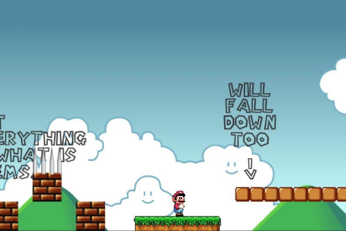 """Este ranking de juegos frustrante está encabezado por """"Unffair Mario"""". Aquí debes tener una gran memoria visual, para recordar que espacios """"no son lo que parecen"""". Foto:MiniJuegos.com. Imagen Por:"""