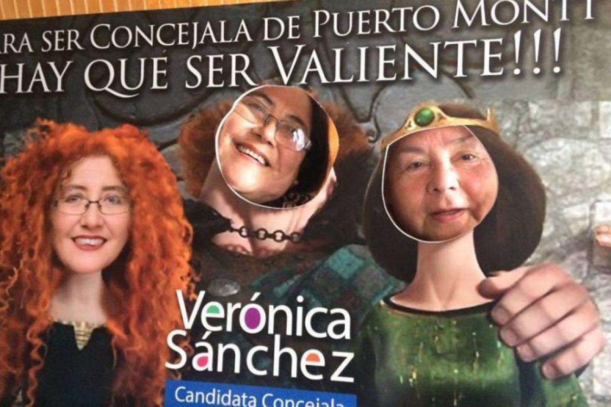 La candidata a concejal por Puerto Montt, Verónica Sanchez aprovechó su parecido con la princesa Mérida. Foto:Gentileza. Imagen Por: