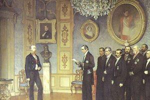 Pintura que inmortalizó el momento en que la delegación mexicana ofrece la corona de emperador de Maximiliano.. Imagen Por: