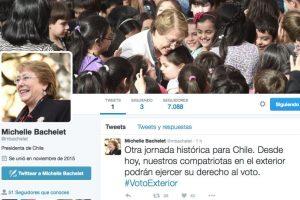 La cuenta de Bachelet, hasta las 14:30 hrs. llevaba publicados sólo dos tweets y en ese transcurso ya contaba con más de 7 mil seguidores y cerca de 2 mil retweets en total. Foto:Agencia UNO. Imagen Por: