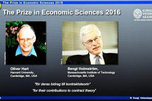 El británico-estadounidense Oliver Hart y el finlandés Bengt Holmstrom fueron galardonados este lunes con el premio Nobel de Economía por sus investigaciones sobre los contratos, que tienen múltiples aplicaciones en diversos ámbitos de la vida real. Foto:Afp. Imagen Por: