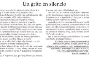 """""""Como chilenos, no aceptamos leyes que no respeten la vida humana, leyes que carecen de solidaridad y amor"""", escribieron los mineros en su carta. Foto:Reproducción. Imagen Por:"""