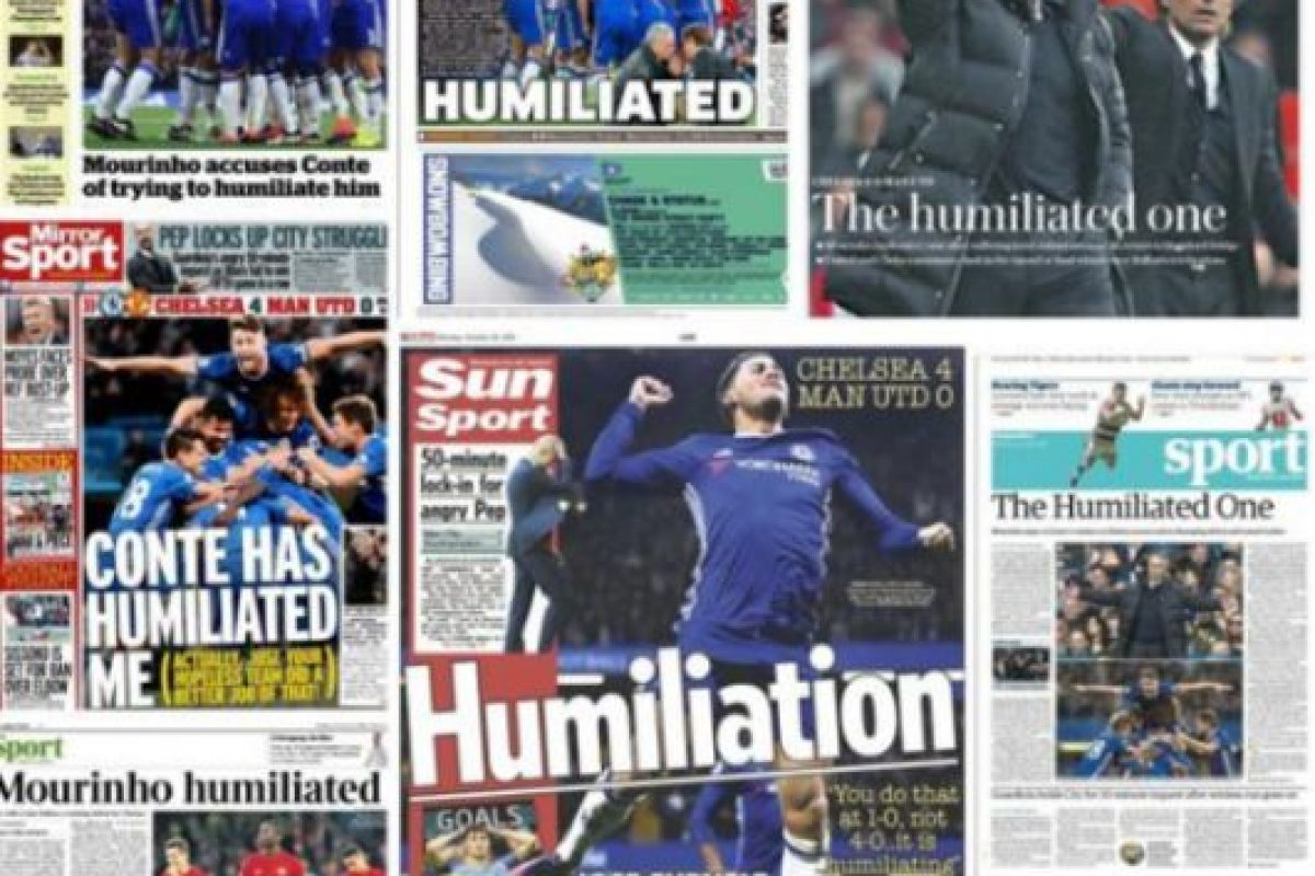 """""""The Humiliated One"""", es el nuevo apodo que le pusieron a Mourinho en Inglaterra. Imagen Por:"""