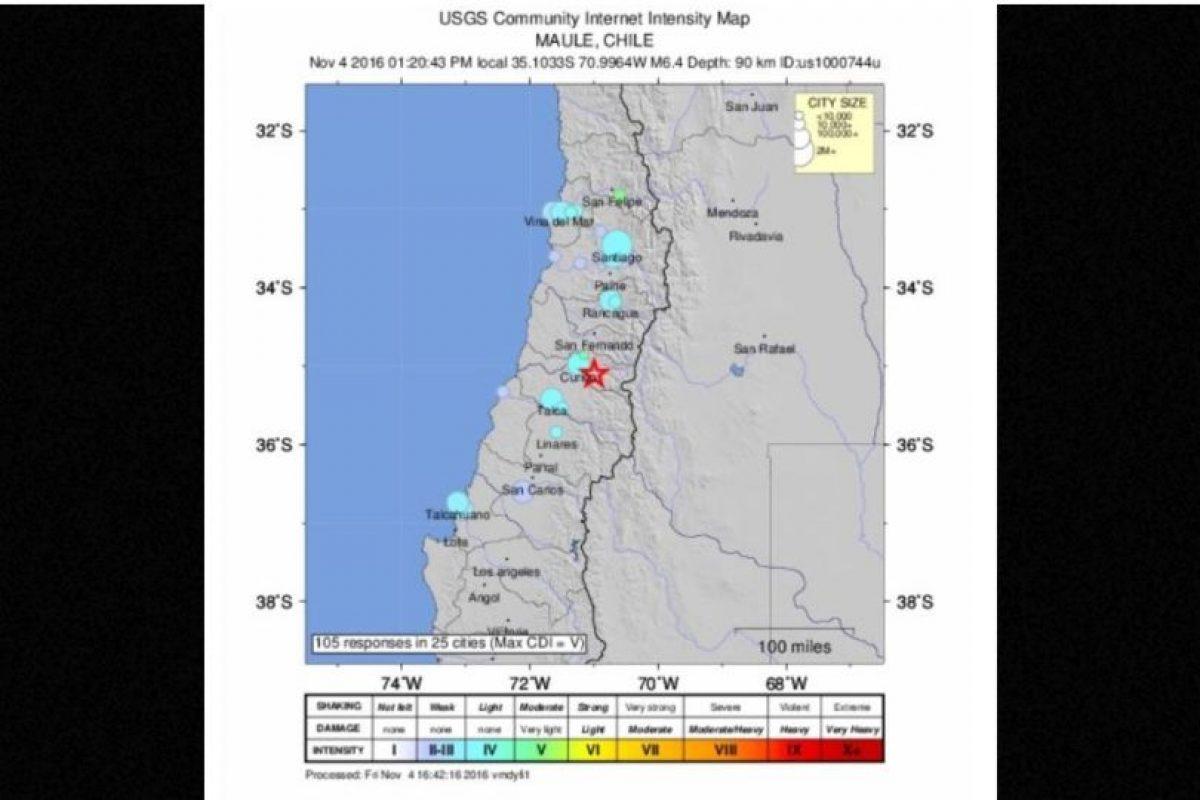 El temblor tuvo una magnitud 6.4 Foto:USGS. Imagen Por: