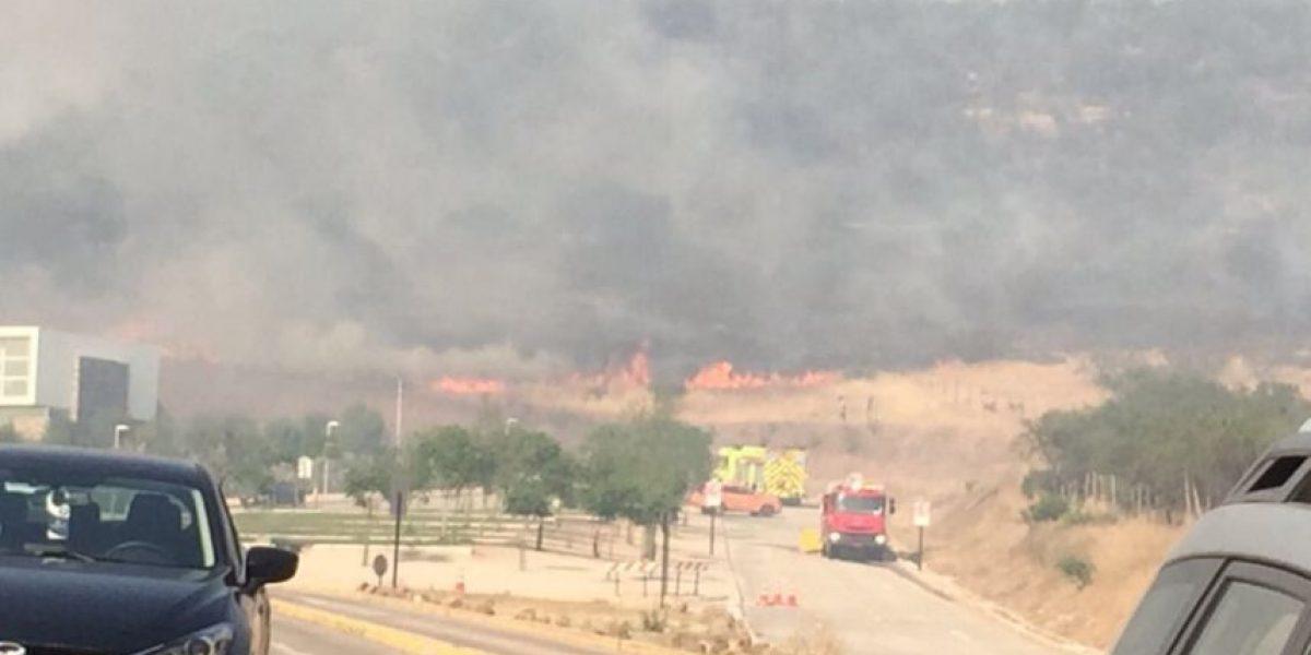 Lo Barnechea: Bomberos controla incendio forestal que amenazaba a colegio Craighouse