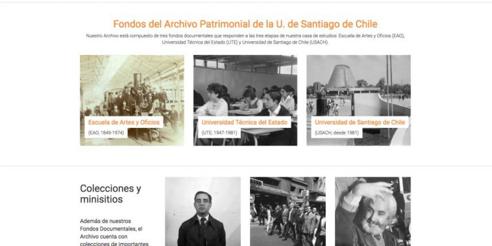 Así se verñá la plataforma archivopatrimonial.usach.cl Foto:Gentileza Universidad de Santiago. Imagen Por: