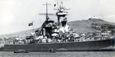 El crucero alemán Almirante Graf Spee, en Montevideo. Foto:AFP. Imagen Por: