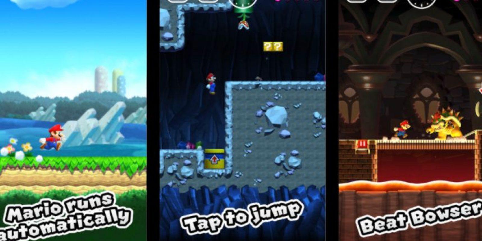 Nintendo resume la jugabilidad de este título en tres pasos sencillos: Mario corre automáticamente, toca para saltar y derrota a Bowser. Foto:Nintendo. Imagen Por: