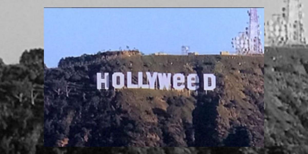 Cambian el famoso letrero de Hollywood para celebrar que la marihuana ya es legal
