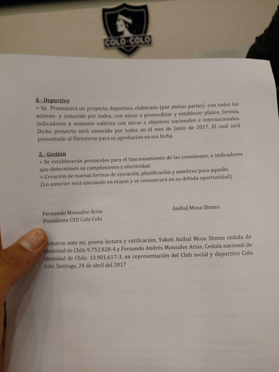 Los acuerdos firmados entre Mosa y el Club Social y Deportivo Blanco y Negro / imagen: Pedro Marín Roldán