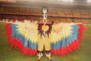 El cóndor de Colombia. Diseño artístico utilizado por El Cole – Junio de 1990 – Textil- Desde las eliminatorias para el Mundial de Italia 90 se ha visto un cóndor que abre sus alas y se vuelca sobre la tribuna. Este personaje, que apareció en la escena futbolística durante el partido de Colombia contra Ecuador el 20 de agosto de 1989 en Barranquilla, es conocido como El Cole y ha acompañado a la Selección nacional desde entonces en muchas de sus presentaciones nacionales e internacionales. Lo que empezó como una pasión de hincha se convirtió rápidamente en el compromiso personal por representar a Colombia; así, para constituir su imagen se ha valido de los símbolos patrios. Este personaje, que tuvo que colarse en los partidos y dormir en la calle durante el Mundial de Italia 1990, ha recibido desde 1991 la financiación de una empresa barranquillera y el reconocimiento de la afición y la prensa como el hincha por excelencia de la Selección.  Foto:Colección El Cole