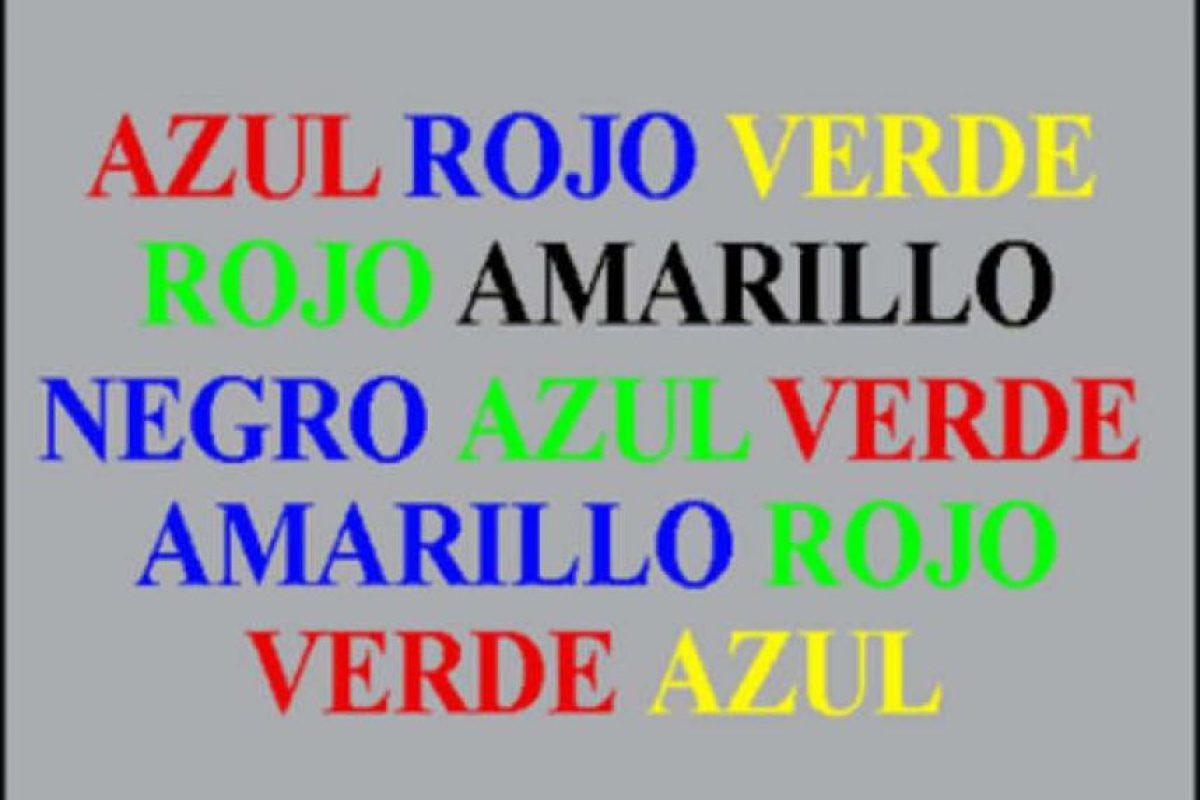 Intente decir en voz alta el color del que están pintadas las palabras ¿No es tan fácil verdad? Foto:http://ninosdivertidos809.blogspot.com