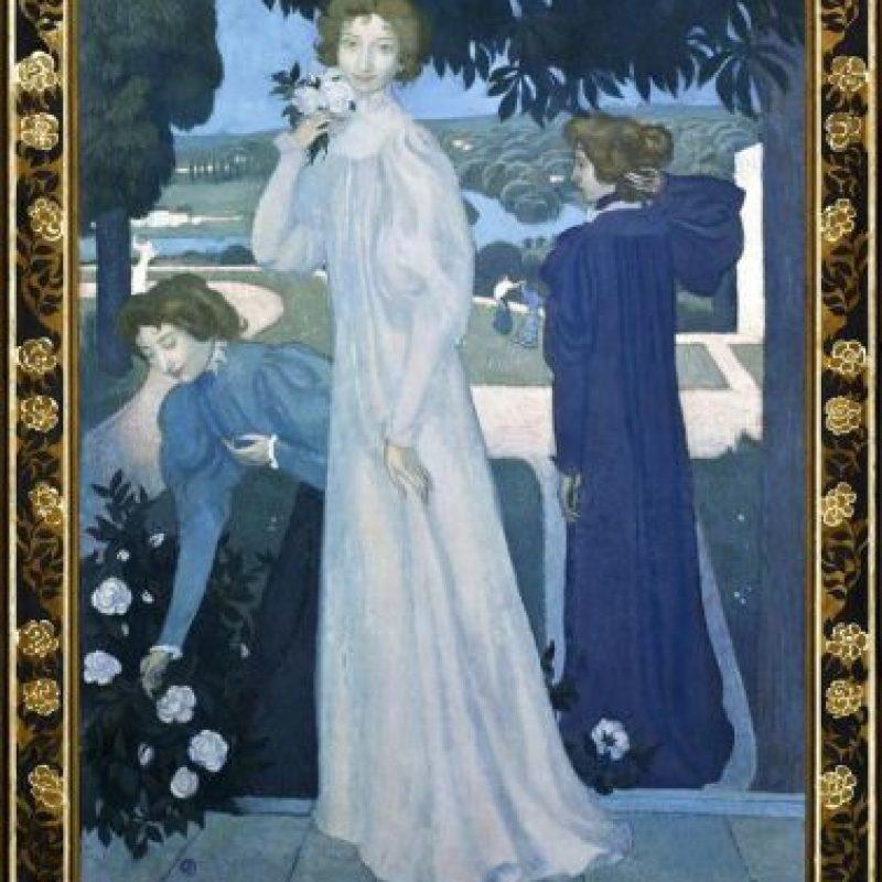 """Imagen cedida por el museo d 'Orsay del """"Retrato de Ivonne Lerolle bajo tres aspectos"""" (1987), de Mauris Denis, incluido en la exposición """"Debussy, la Música y las Artes"""" sobre las obras de los pintores que inspiraron a Claude Debussy y que acogen los museos parisinos d' Orsay y de l' Orangerie, en homenaje al compositor francés en el 150 aniversario de su nacimiento. EFE/ Patrice Schmidt/Museo d' Orsay"""