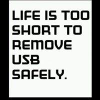 (La vida es muy corta para expulsar la USB) Foto:oddee.com