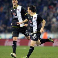El centrocampista del Levante Rubén Suárez celebrando el segundo gol marcado ante el Espanyol. EFE