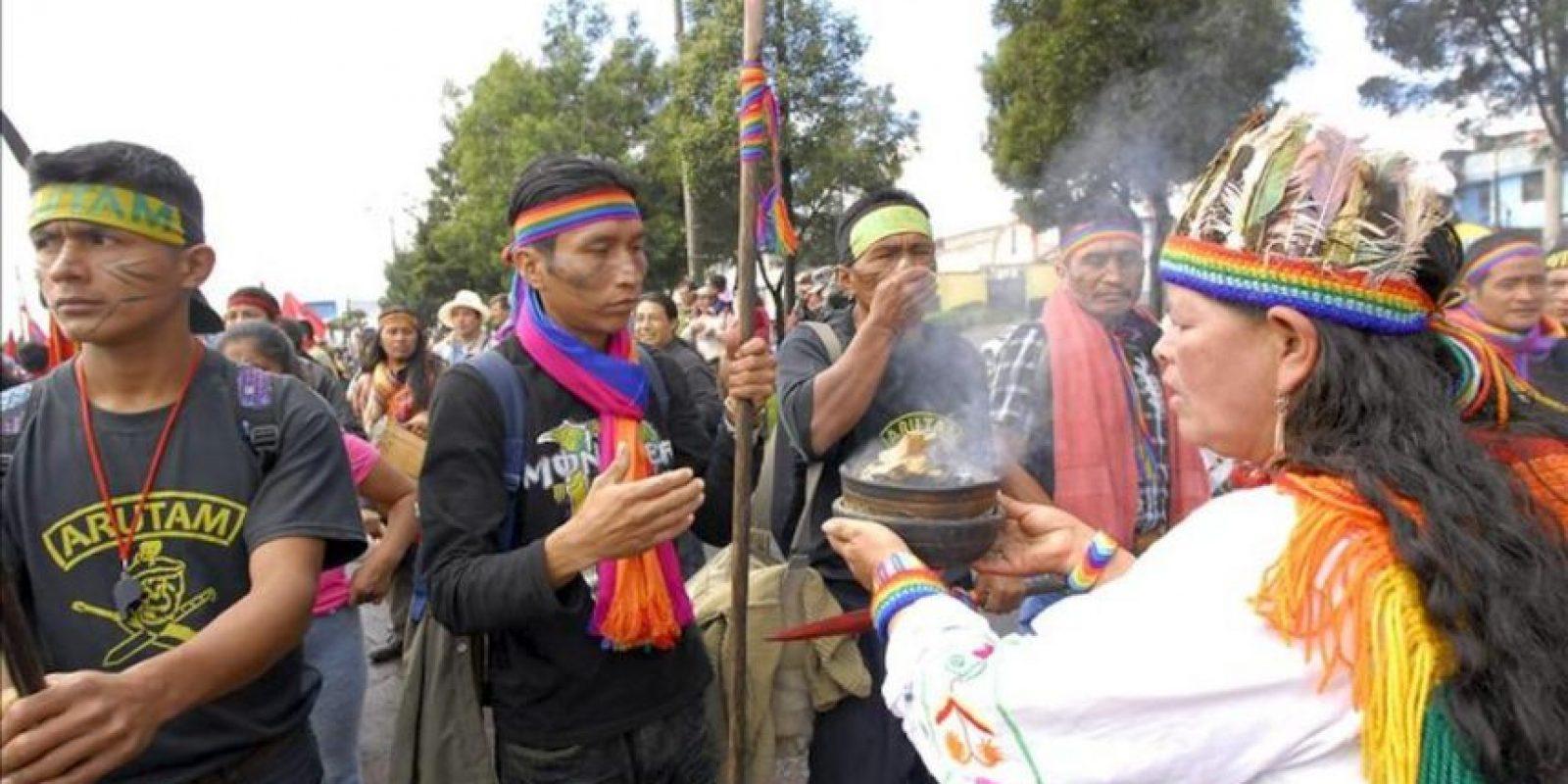 La marcha liderada por indígenas en protesta contra la minería a gran escala autorizada por el Gobierno de Ecuador llega este jueves a Quito (Ecuador). EFE