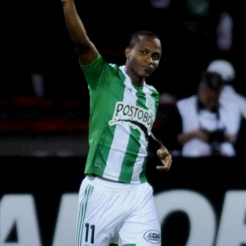 El colombiano Luis Fernando Mosquera llegó a tres dianas en la competición al marcar las dos del Atlético Nacional al Godoy Cruz en el empate 2-2 en Medellín. EFE