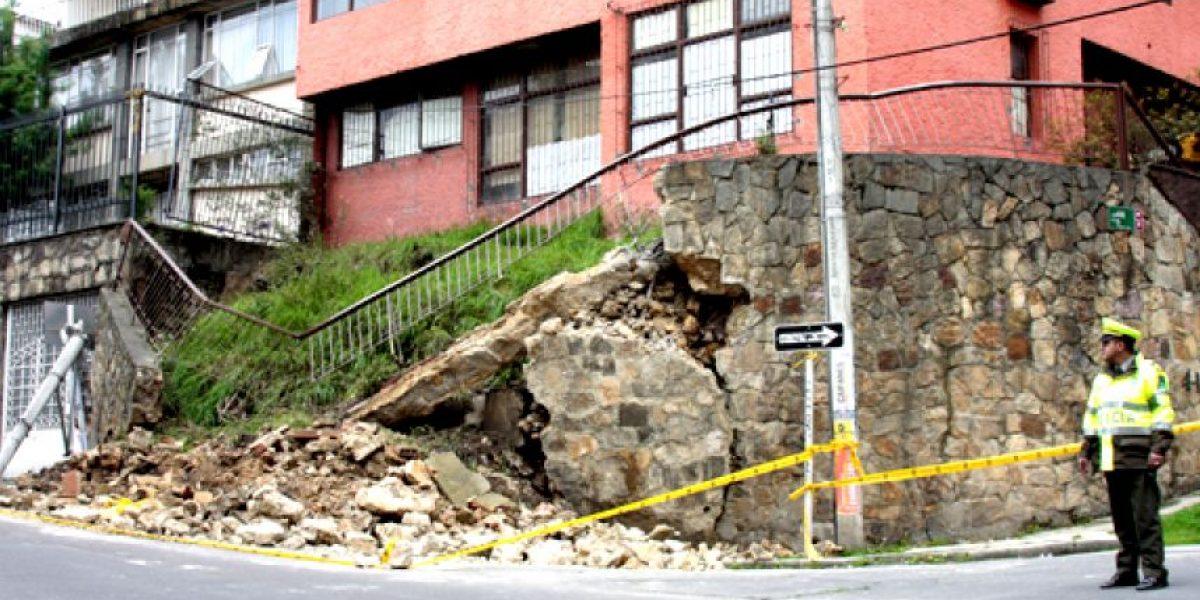 Colapsó parcialmente muro de contención en la localidad de Chapinero, barrio Prado Rubio