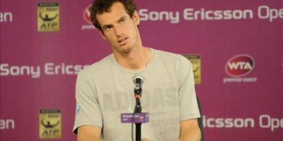 El tenista británico Andy Murray ofrece una rueda de prensa tras la retirada del español Rafael Nadal, segundo favorito, de las semifinales del torneo de Miami, en Cayo Vizcaíno, Florida. EFE