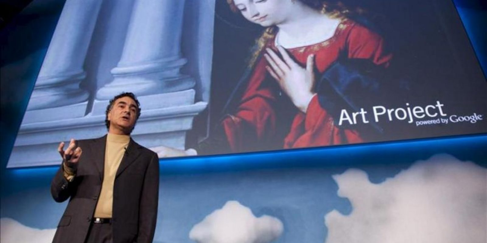 """El vicepresidente tecnológico de Google para Europa, África y Oriente Medio, Nelson Mattos, ofrece una rueda de prensa en París (Francia) hoy, 3 de abril de 2012, durante la presentación en el Museo de Orsay de París del programa """"Art Project"""". EFE"""