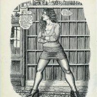 Imagen en blanco y negro cedida por el Museo de Arte Moderno de la ciudad de París de una mujer que se incluye en la amplia retrospectiva que ese centro dedica al dibujante estadounidense Robert Crumb. EFE