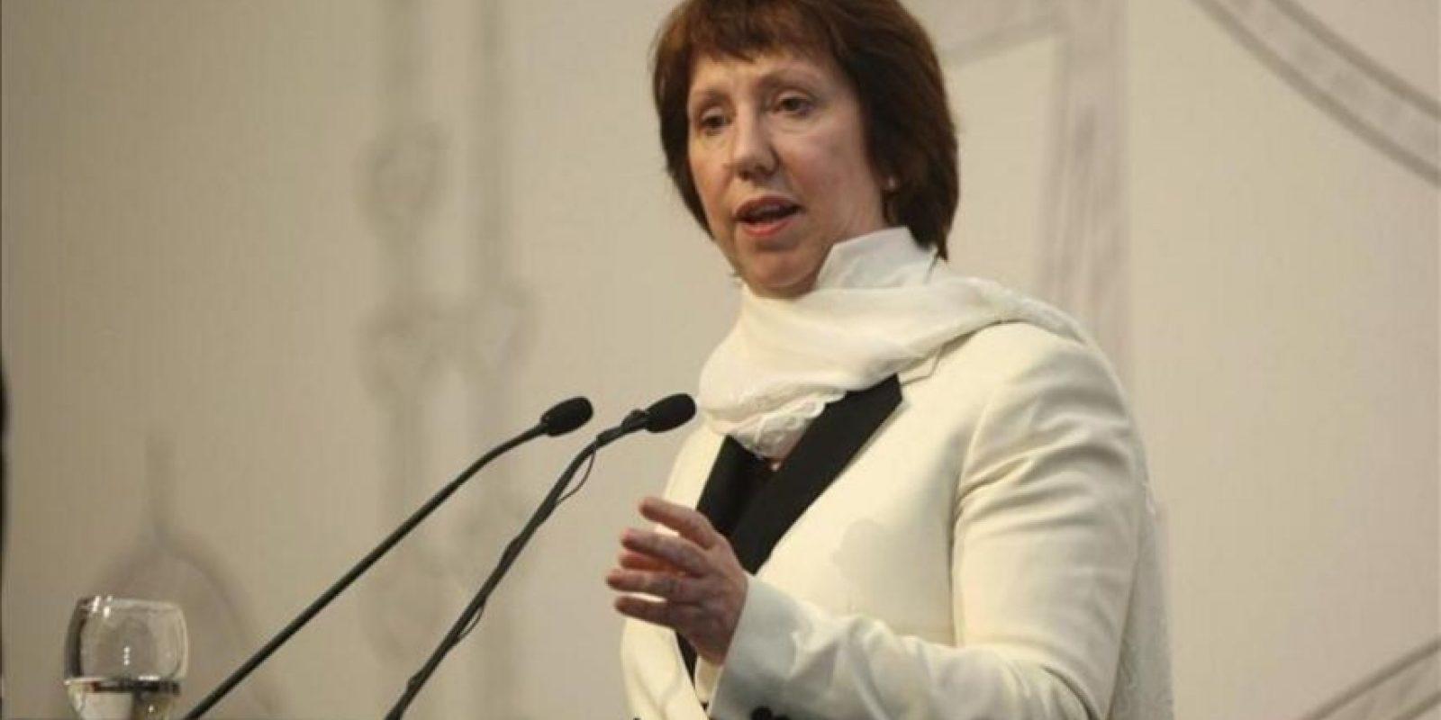 La alta representante para Asuntos Exteriores de la Unión Europea (UE), Catherine Ashton, durante la conferencia celebrada en Estambul hoy sobre el programa nuclear de Irán. EFE
