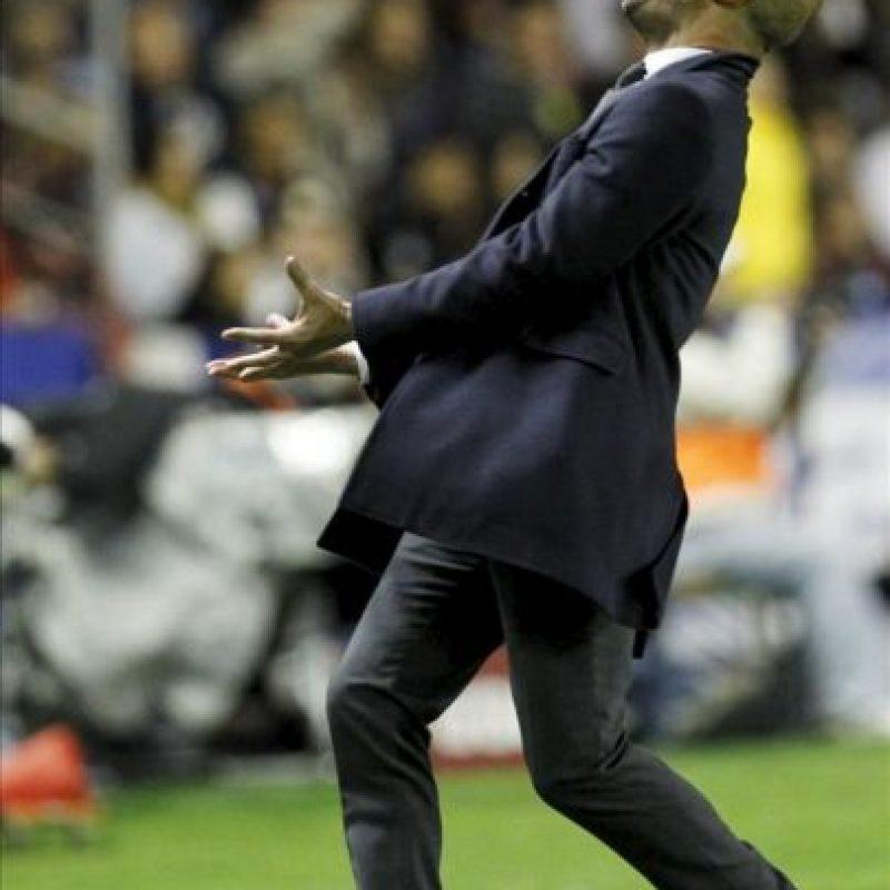 El entrenador del FC Barcelona, Pep Guardiola, durante el partido que su equipo ha disputado con el Levante. EFE