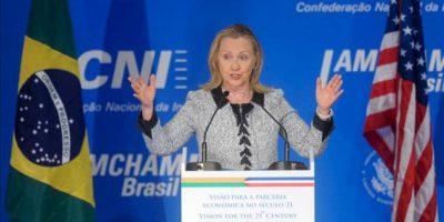 La secretaria de Estado de Estados Unidos, Hillary Clinton, participa en un seminario con empresarios brasileños, en la Confederación Nacional de la Industria (CNI) en Brasilia (Brasil). EFE