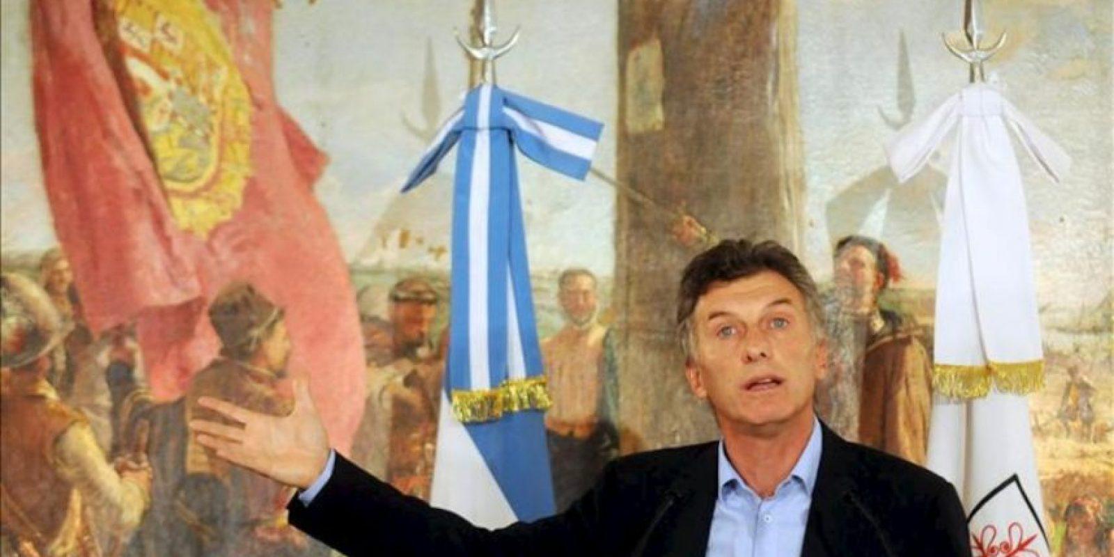 El alcalde de Buenos Aires, el conservador Mauricio Macri, habla en una rueda de prensa en la sede del gobierno de Buenos Aires (Argentina). EFE