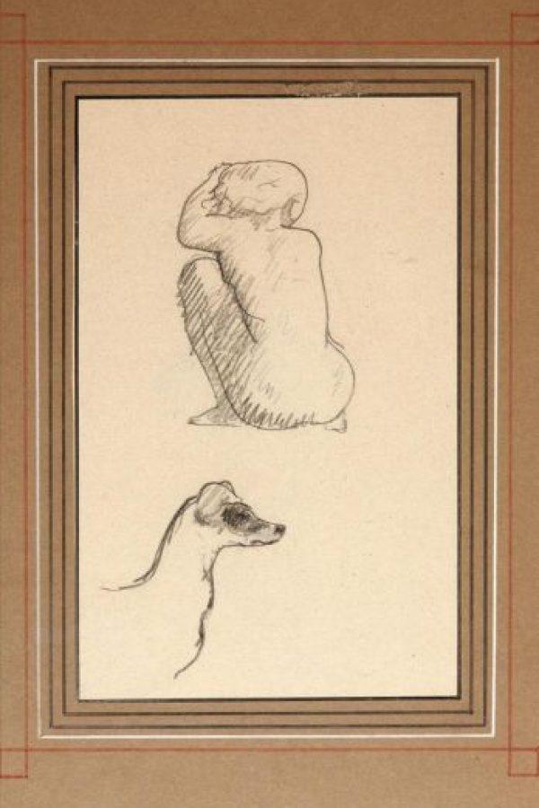 """Imagen facilitada por la Galería Gagosian de París del dibujo de Pablo Picasso """"Nu de dos et tête de chien"""" (1906), que forma parte de una exposición que reúne obras en pequeño formato, a veces diminuto, firmadas por algunos de los más grandes artistas contemporáneos. EFE"""